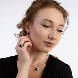 Image 2 - Ensemble de bijoux en Quartz fumé, pour femmes, BALLET, boucles doreilles et pendentif, en argent Sterling 925, pour mariage