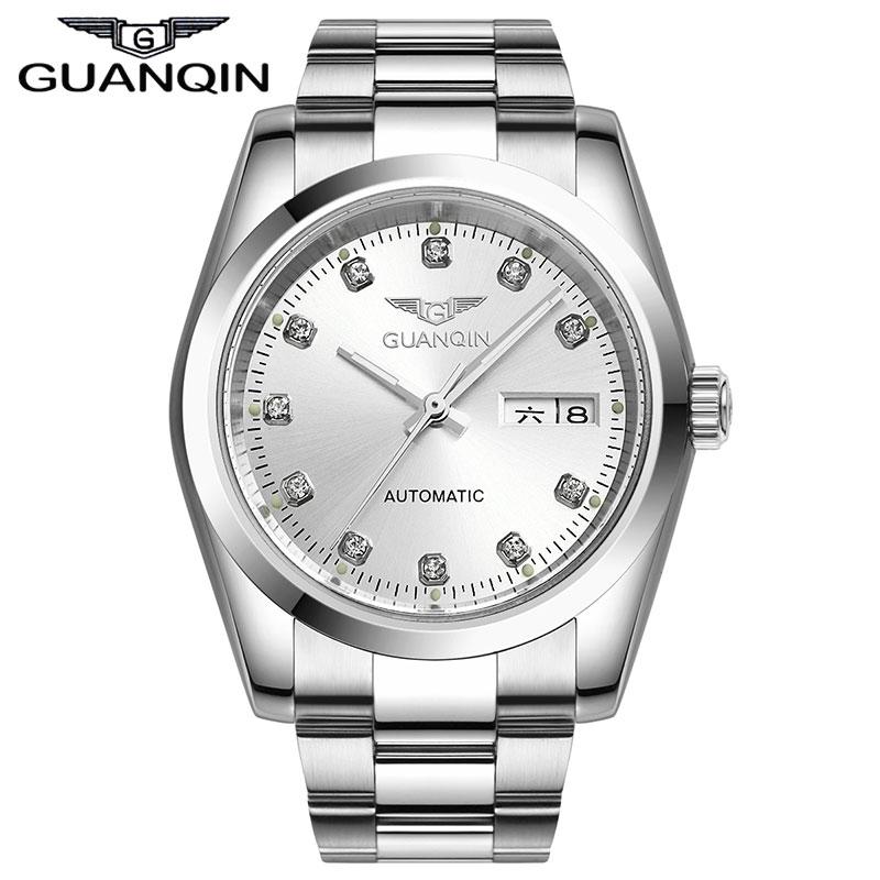 ФОТО Luxury Original GUANQIN Automatic watch men Waterproof Diamond sapphire Men gold watch(GQ70005) 12 month Guaranteed!