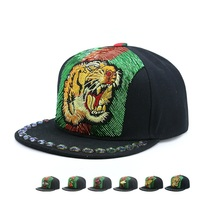 2018 Adult Bboy Flat Snapback Caps Tiger Embroidery With Pearl Chains Skateboard Hats Men Hip Hop