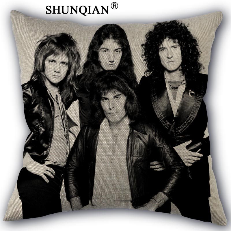 Rock Band Queen Pillow Cover Custom Cotton Linen Decorative Pillows Covers Case For Textiles Chair 45x45cm One Side A1017