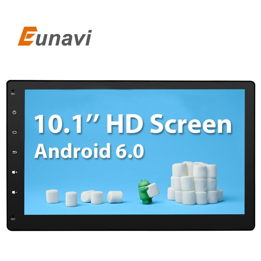 imágenes para Eunavi 10.1 pulgadas Android 6.0 3G Wifi GPS de radio Del Coche de Navegación 2 din Car Stereo Radio Bluetooth GPS USB/SD Universal Player