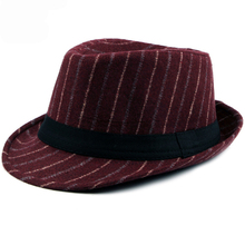 HT1515 2018 New Fashion Mens Fedoras Vintage Classic Retro Fedora Hats Autumn Winter Striped Jazz Casual Bowler Trilby