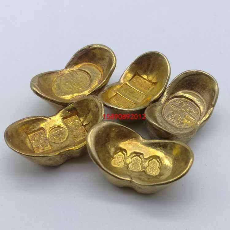 Bộ sưu tập đồ cổ, dân gian Trung Quốc tác phẩm điêu khắc, vàng miếng, đồng nguyên chất, rắn vàng, vàng kho báu, thủ công vàng trang trí bar