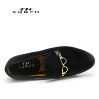 Handmade Fashion Party Men Dress Shoes Gold Buckle Men Velvet Loafers Wedding Smoking Slipper Men's Flat