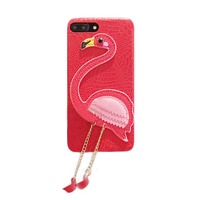 2017 Fashion Cartoon Animals Classic Sexy Girl Love Flamingo Metal Chain Luxury Leather Case For Iphone6