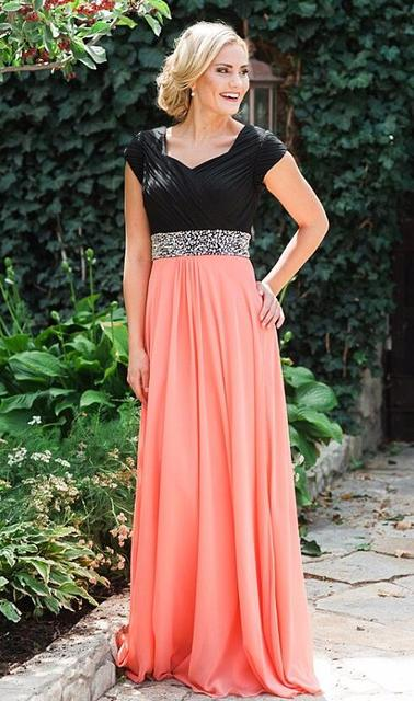 9266e4cb797 Coral Black Two Tones Long Modest Bridesmaid Dresses With Cap Sleeves Beads  Belt Ruched Chiffon A-line Floor Brides Maid Dress
