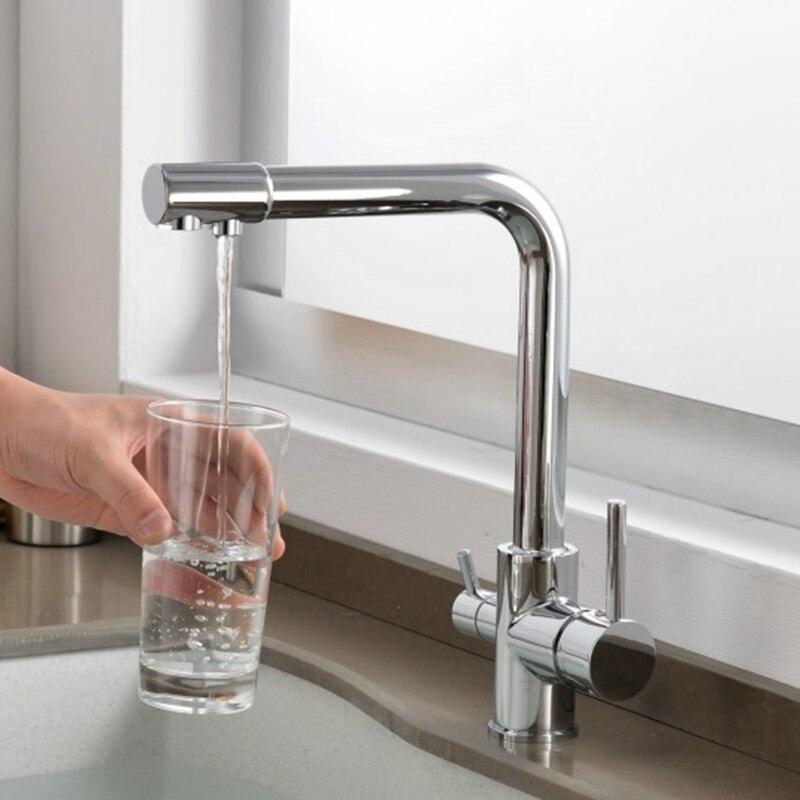 Кухня Смесители твердой латуни кран для Кухня очищенной воды фильтр коснитесь три способа Смеситель для мойки 3 способ Кухня кран ELM13