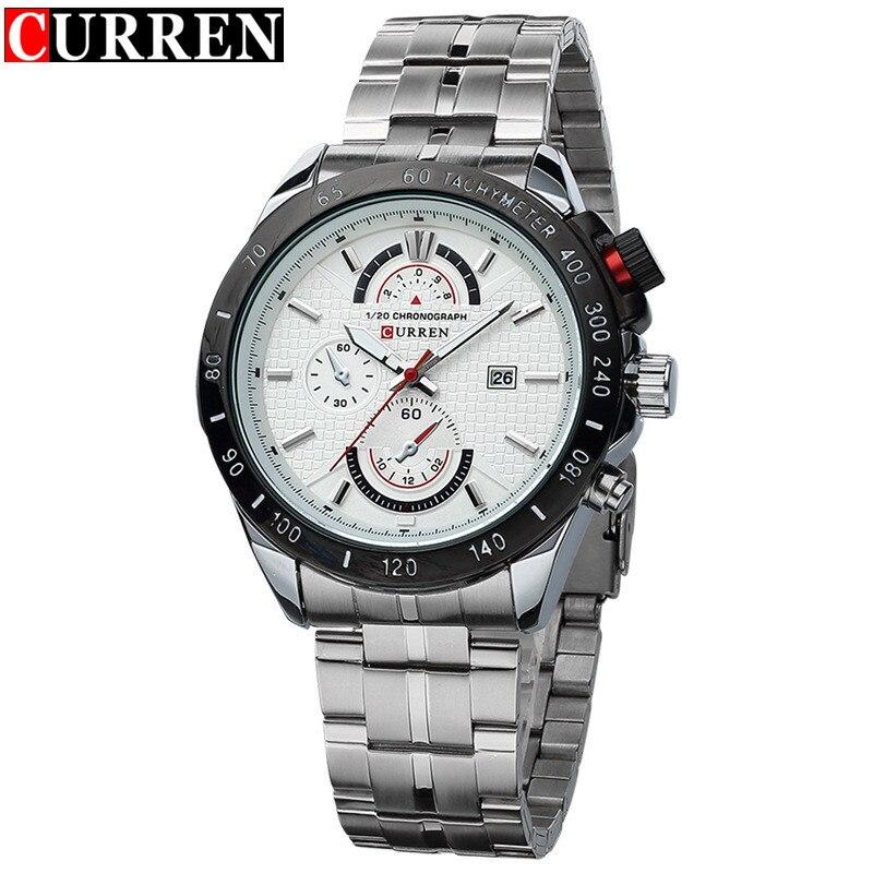 Luxury Brand CURREN Waterproof Watches Men Sport Quartz Watch Men Full Steel White Dial Casual Watch Relogio Masculino CN8148