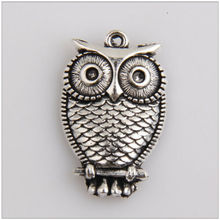 Owl pendant charm made of ancient silver handmade jewelry
