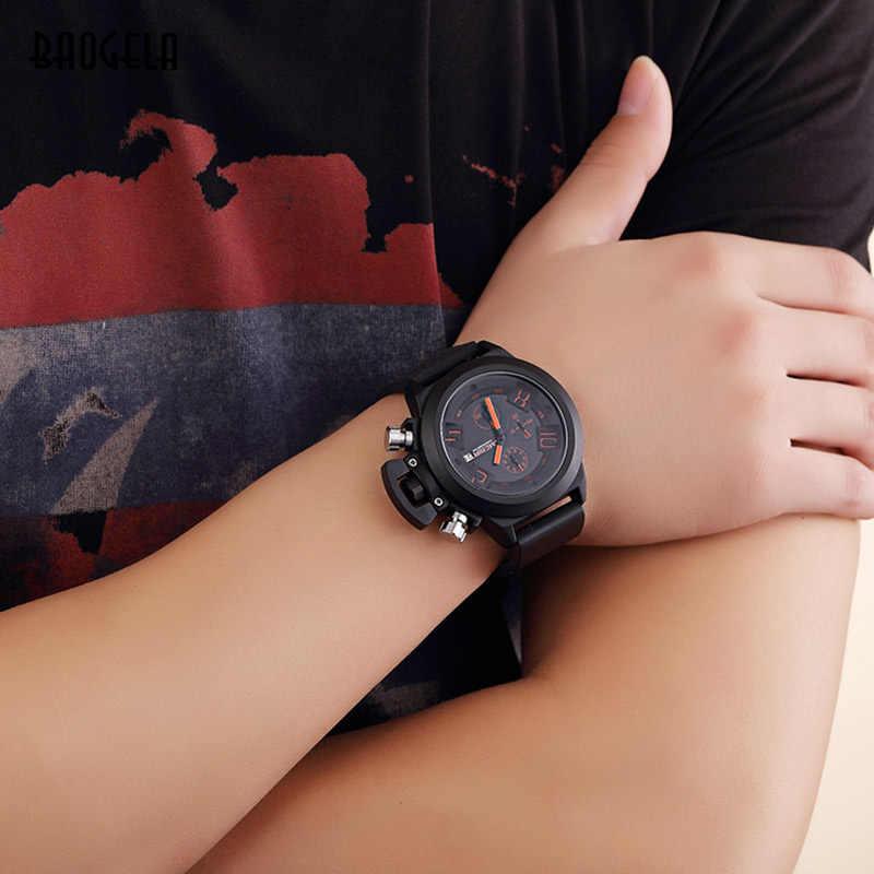 BAOGELA der Männer Große Zifferblatt Sport Army Military Quarz Handgelenk Uhren Chronograph Stoppuhr Mann Uhr Silikon Relogios Schwarz 1606