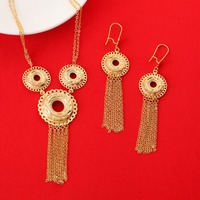 New Ethiopian Jewelry Women 24K Gold Plated Necklace Earrings India African Dubai Ethiopia Nigeria Arabic Items