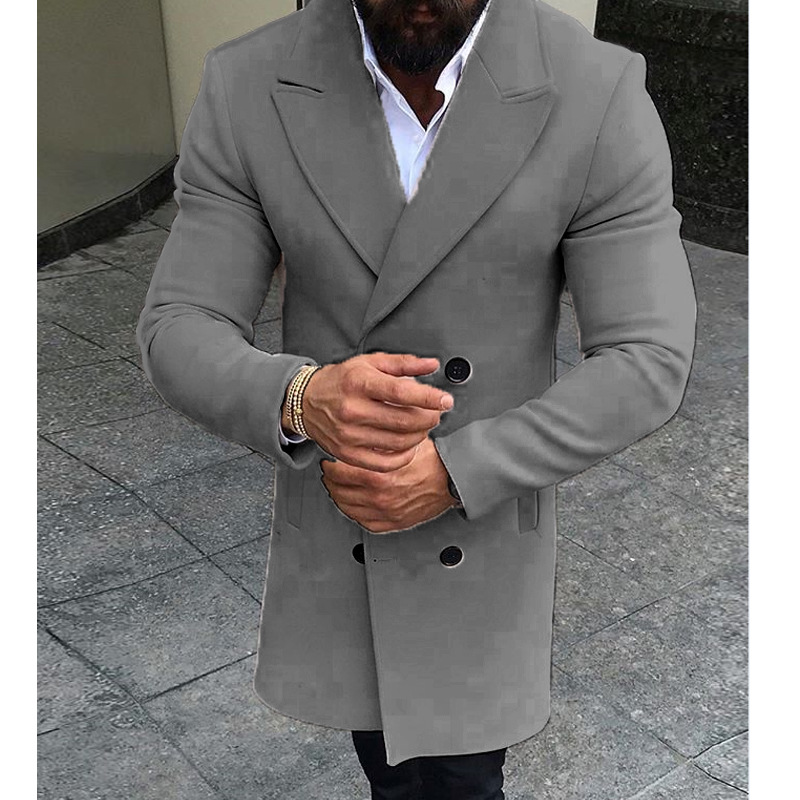 HTB1OR4LXUzrK1RjSspmq6AOdFXa3 5 Colors Men Winter Double Breasted Pockets Windproof Trench Coat Outwear Slim Smart Casual Warm Overcoat Long Thicken Peacoat