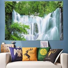 Green Fresh Natural Forest Tapestry Wall Hanging 3D Waterfall Decoration Tapestries Boho Hippie Large Cloth