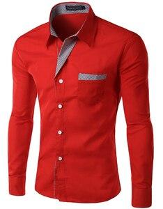 Awans! 2018 nowych moda męska koszule z długim rękawem bawełna Slim Fit francuski mankiet dorywczo mężczyzna koszula na spotkania towarzyskie Heren Hemden 30