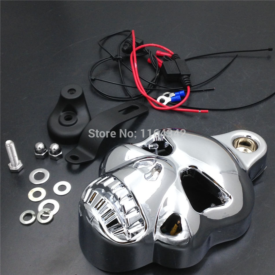 Motorcycle Parts Chrome LED Skull Carburetor Horn Cover for Harley Davidson Big Twins V-Rods Stock Cowbell 1992-2013 scooter parts 8pcs chrome speedometer gauges bezels and horn cover case for harley davidson touring free shipping