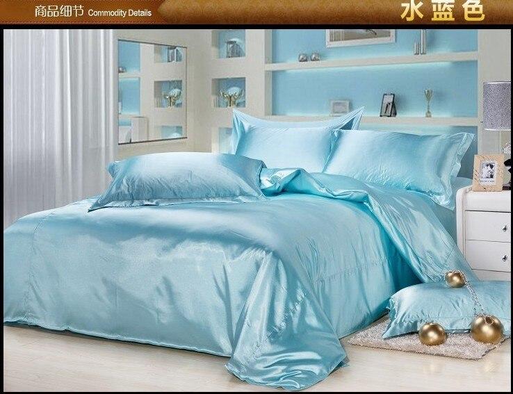Luxury aqua blue satin silk bedding set queen full twin quilt duvet cover king  size bed in a bag sheets bedspreads linen bedroom. Online Get Cheap Aqua Blue Bedding  Aliexpress com   Alibaba Group
