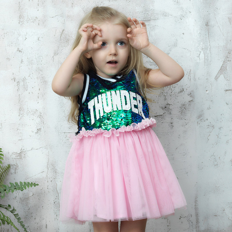 ФОТО Baby Girls Summer Shinning Party Sequin Dress Letter Words Print Tutu Petti Dress Frocks for Infant 2 3 4 5 6 7 8T Years Old