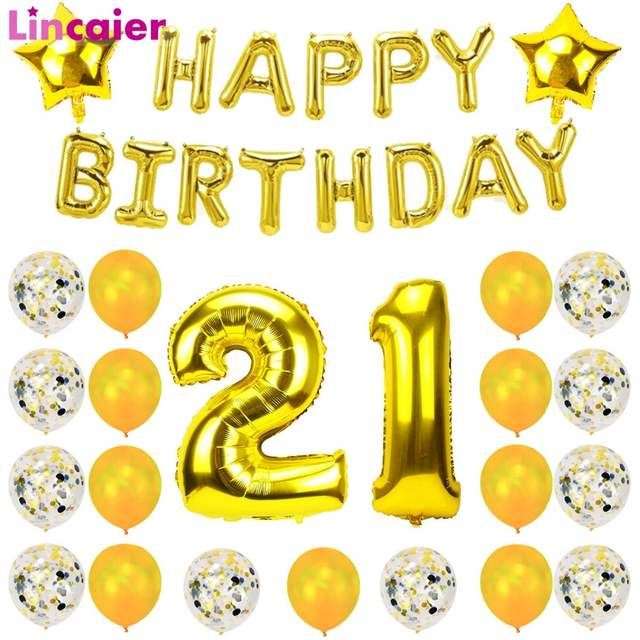Placeholder Lincaier 32inch 62cm Happy 21st Birthday Balloons 21 Years Party Decorations Man Girl Woman Supplies