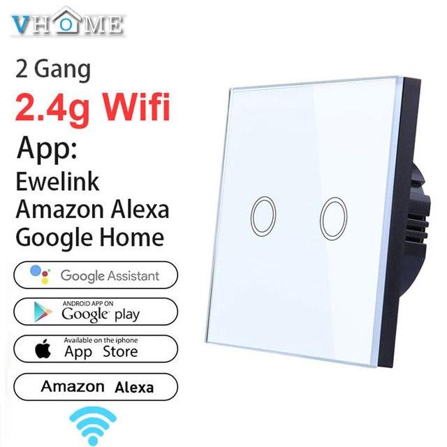 Ewelink Interruptor táctil Wifi 2,4G de casa inteligente Interruptor táctil, Panel de pared de 220 V UE/Reino Unido estándar Smart Led Wifi Control Alexa para Vhome