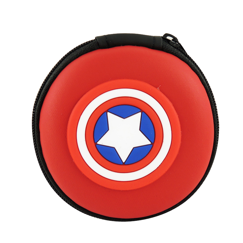 XYDYY Kawaii American Shield Kids Coin Purses Mini Round Silicone Coin Purses Princess Girls Key Earphone Case Headset Coin Bag
