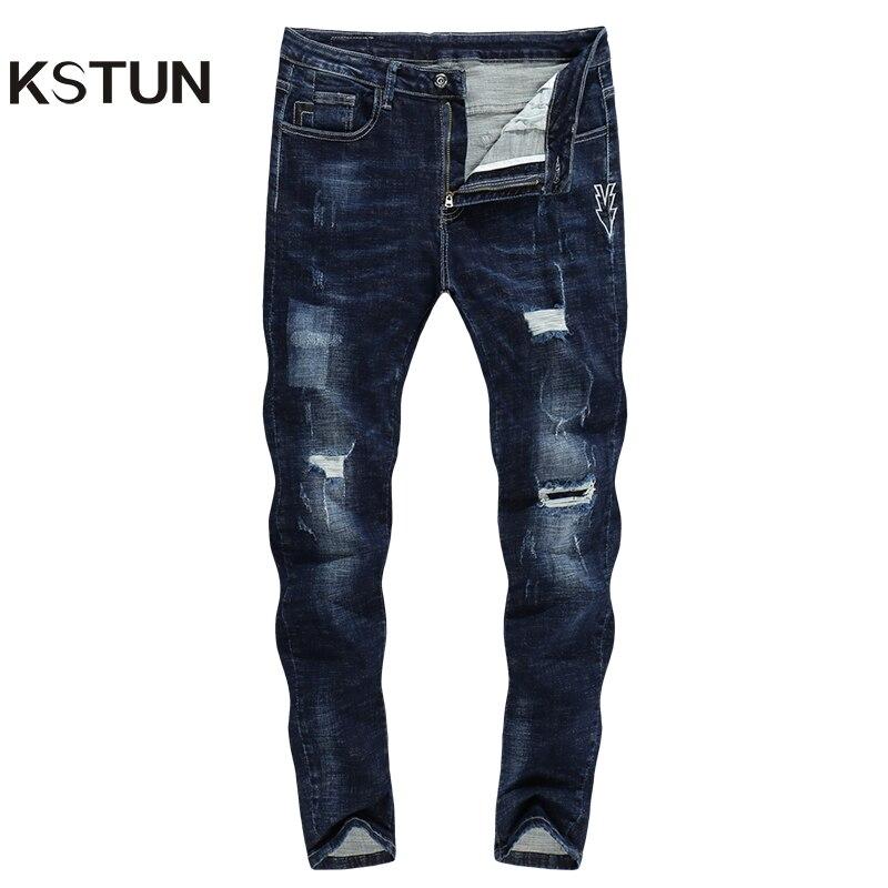 KSTUN Dei Jeans Degli Uomini Scarni Blu Stretch di Spessore 2018 di Marca di Modo Strappato Hip Hop Streetwear Stampato Freccia Ragazzo Uomo Vestiti Kanye ovest