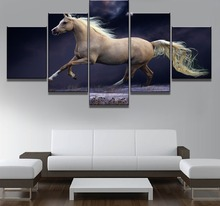 Framework 5 Piece Canvas Art Beautiful Horse Painting Wall Picture Home Decoration Living Room
