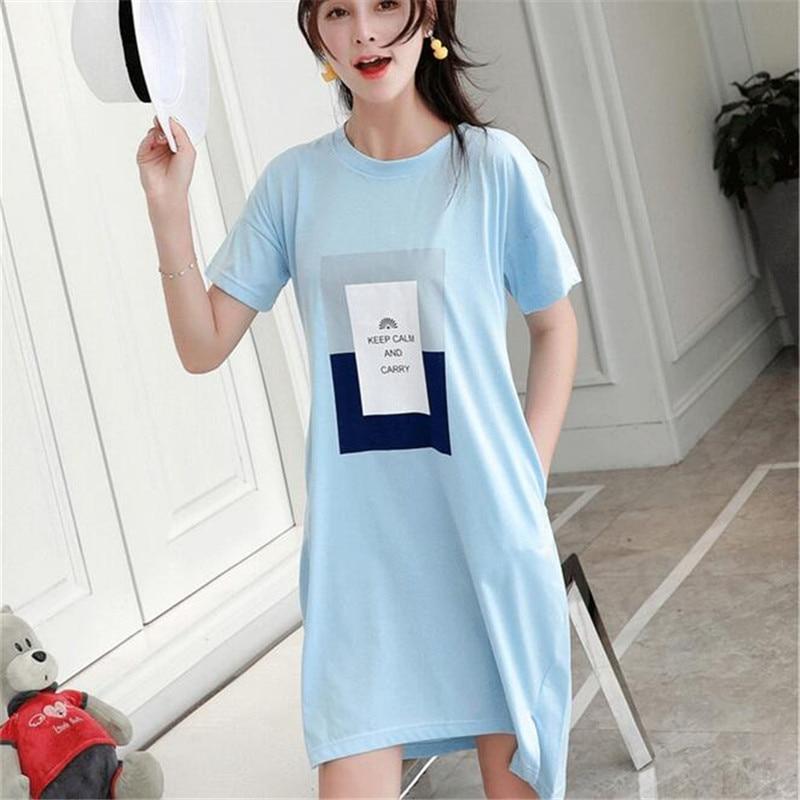 2017 Brand Cute Sleepwear Nightgown Short sleeve Women Cotton Nightdress  Casual Spring Summer Sexy Nightwear Sleepshirt-in Nightgowns   Sleepshirts  from ... f7ee0dcd2