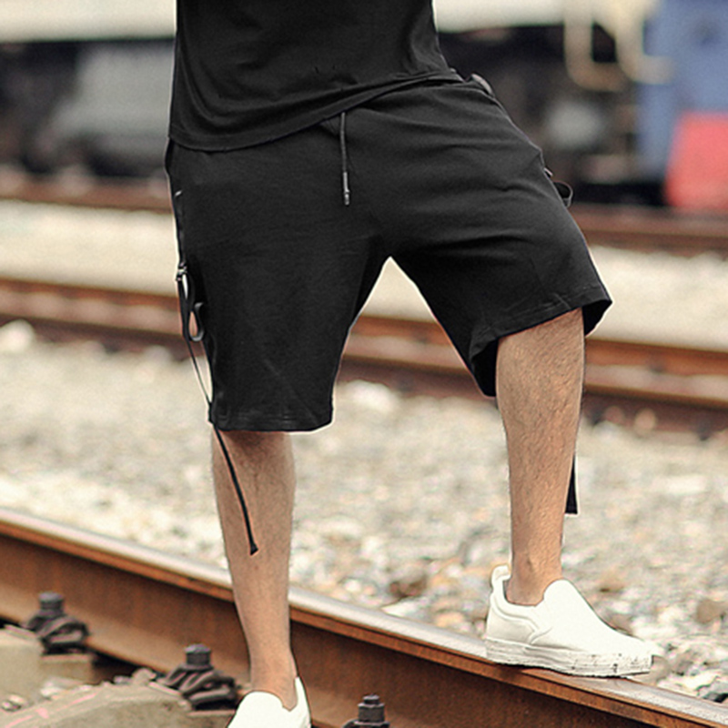 Mens Cotton Linen Pants Casual Elastic Waist Loose Stretchy Baggy Drawstring Shorts with Pocket Transer