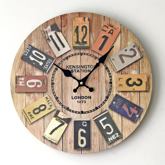 Kensington Station London 1873 Wooden Wall Clock Antique