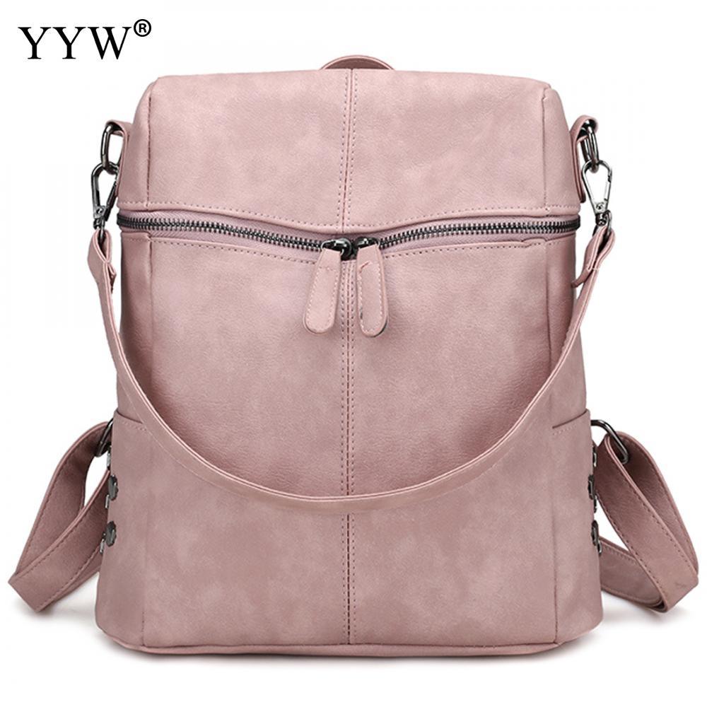 Women Backpack Shoulder-Bags Large-Capacity Fashion Pu Bolsa Pink Female New Feminina