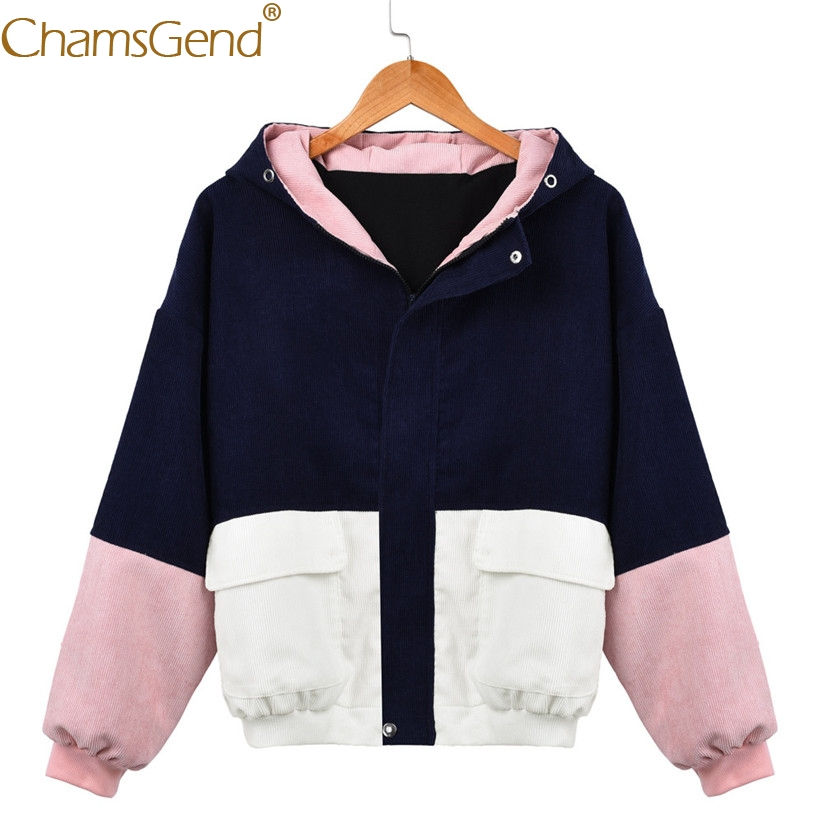 Chamsgend   Basic     Jackets   Women Winter Vintage Patchwork Corduroy   Jacket   Coat Windbreaker Hoodie Pocket Streetwear Coats 80117