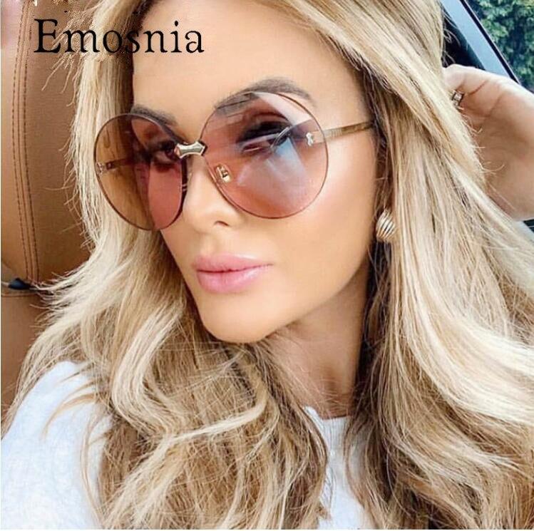 Trendy 2019 New Fashion Women Luxury Brand Designer Oversized Round Sun Glassess Vintage Gradient Sunglass Oculos UV400