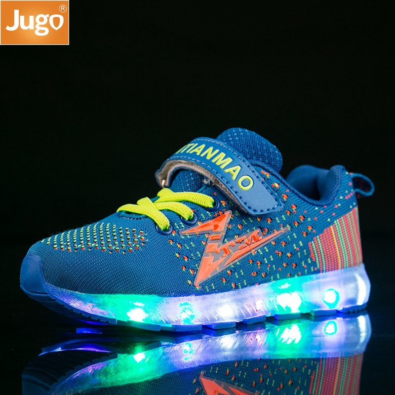 2017 New 3 Colors Children s Sneakers Fashion USB Charging LED Lighted up Shoes Summer Kids