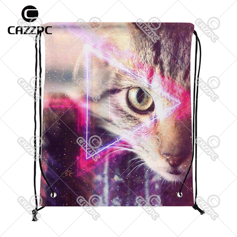 Space Future Science Fiction Cool Cat Print Custom individual Nylon Fabric Drawstring Shoes Storage Dust Bag Pack of 4