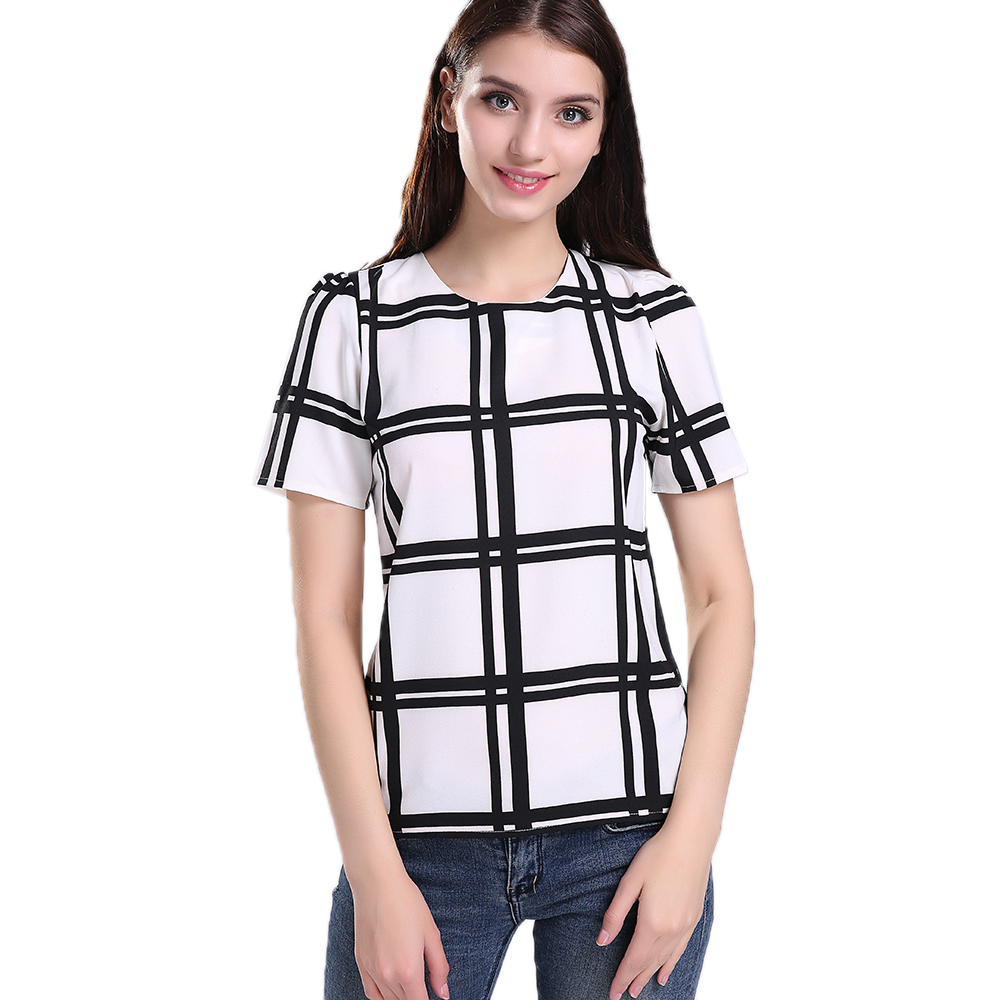 Singwing Plaid Loose Type Chiffon Blouse Short Sleeve O Neck Women Jfashion Korean Style Spandek Wing Blouses Tops Casual Shirts New Arrive In From Womens Clothing