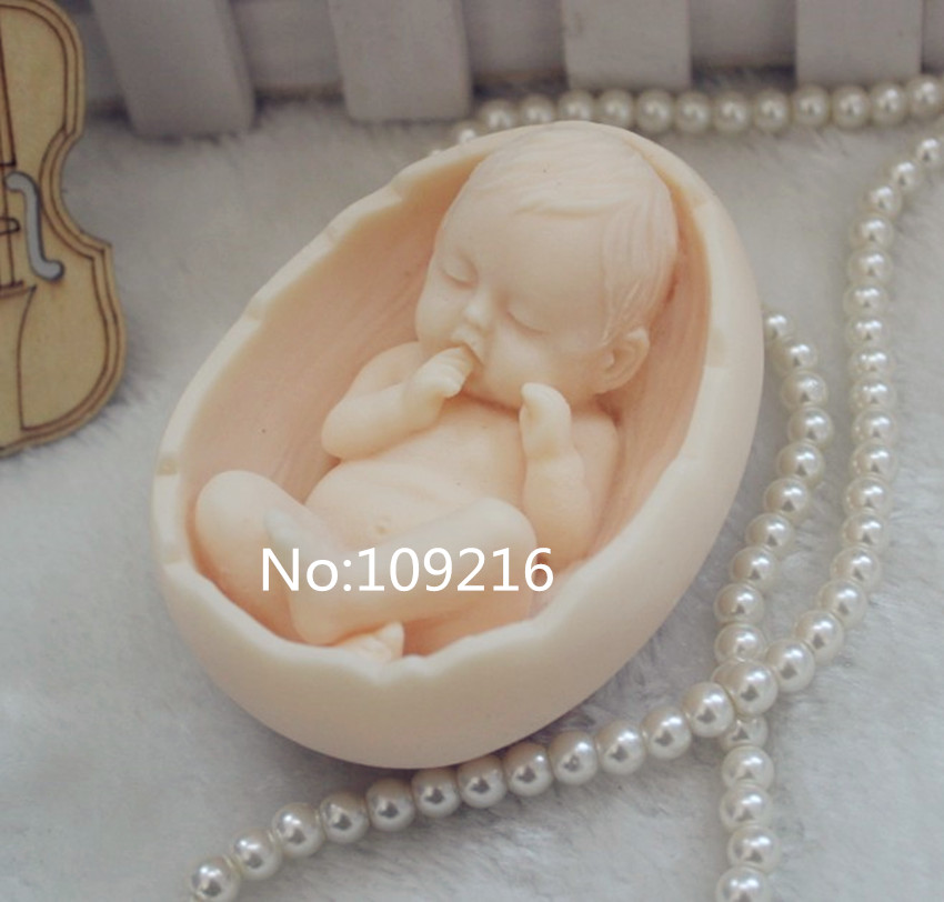 wholesale!!!1pcs Cradle with Baby (ZX99) Handmade Soap Mold Crafts DIY Silicone Mould