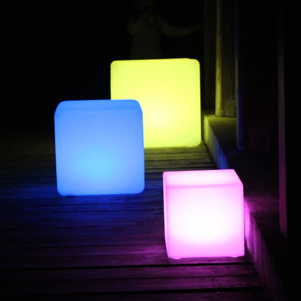 led table and chairs padded metal folding d40cmpe material rechargeable 16 color square cube seat chair stool waterproof light free shipping 5pcs in bar stools from