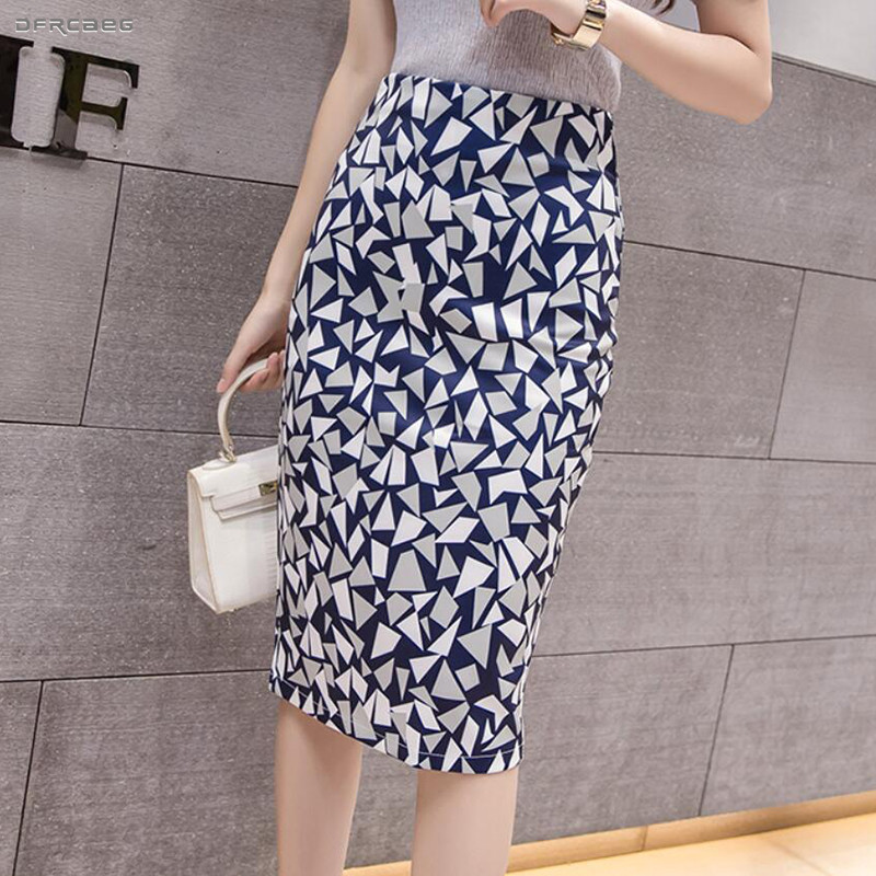 Summer Sexy Split Pencil Skirt For Women 2019 Fashion High Waist Ladies Vintage Elegant Bodycon Geometric Print Midi Skirt