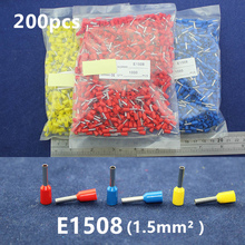 200Pcs Cord End Copper Tube Connectors Insulated Cord Pin End Crimp Terminals Bootlace Ferrules  E1508 for 18-16awg wire