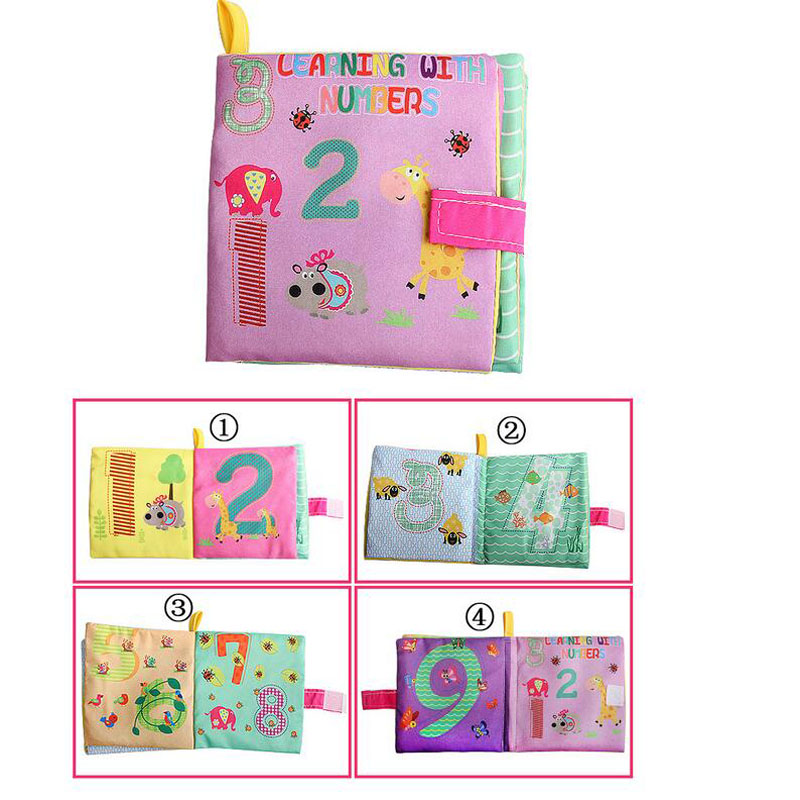 10pcs Soft Cloth Book Kids Baby Shapes Colors English Chinese Educational Toy