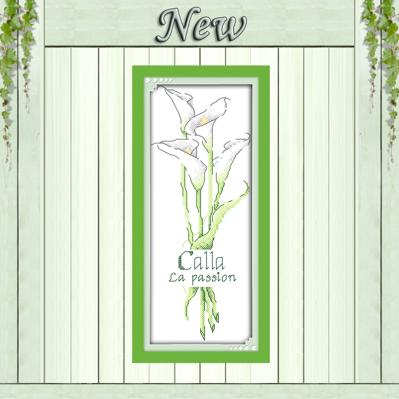 Package Independent Calla White Flower Home Decor Painting Counted Print On Canvas Dmc 14ct 11ct Chinese Cross Stitch Needlework Set Embroidery Kits To Prevent And Cure Diseases Cross-stitch