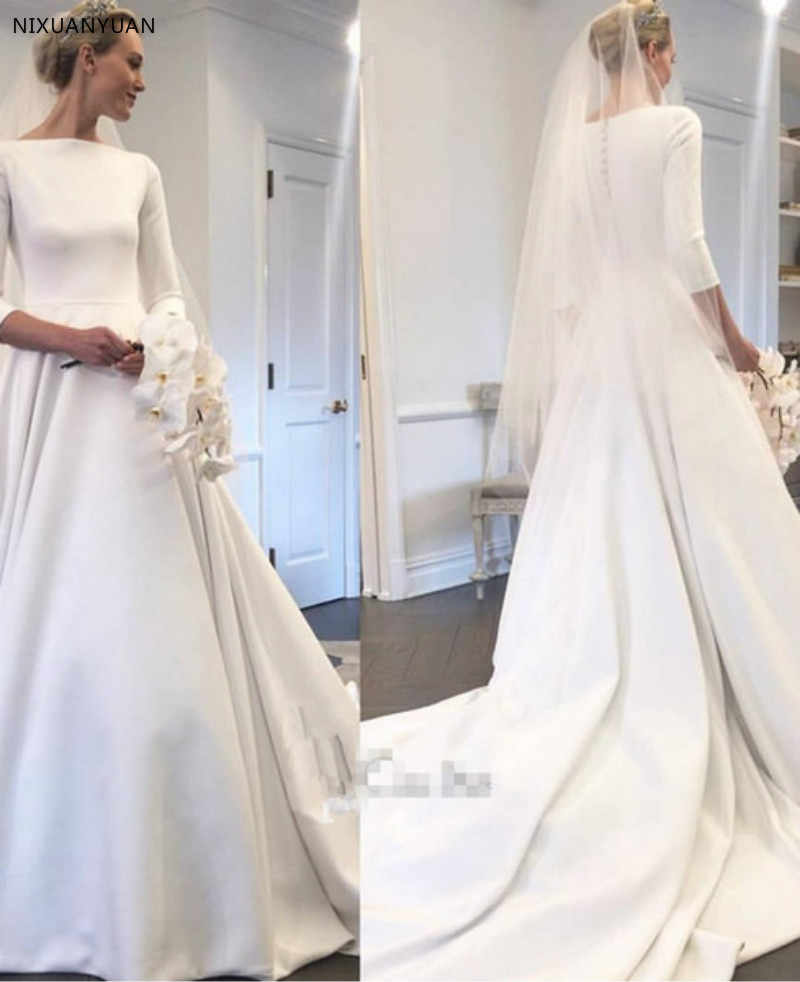 A Line 2020 Wedding Dresses With Three Quarter Sleeve New Meghan Markle Style Vintage Bateau Covered Buttons Back Simple Bridal Wedding Dresses Aliexpress