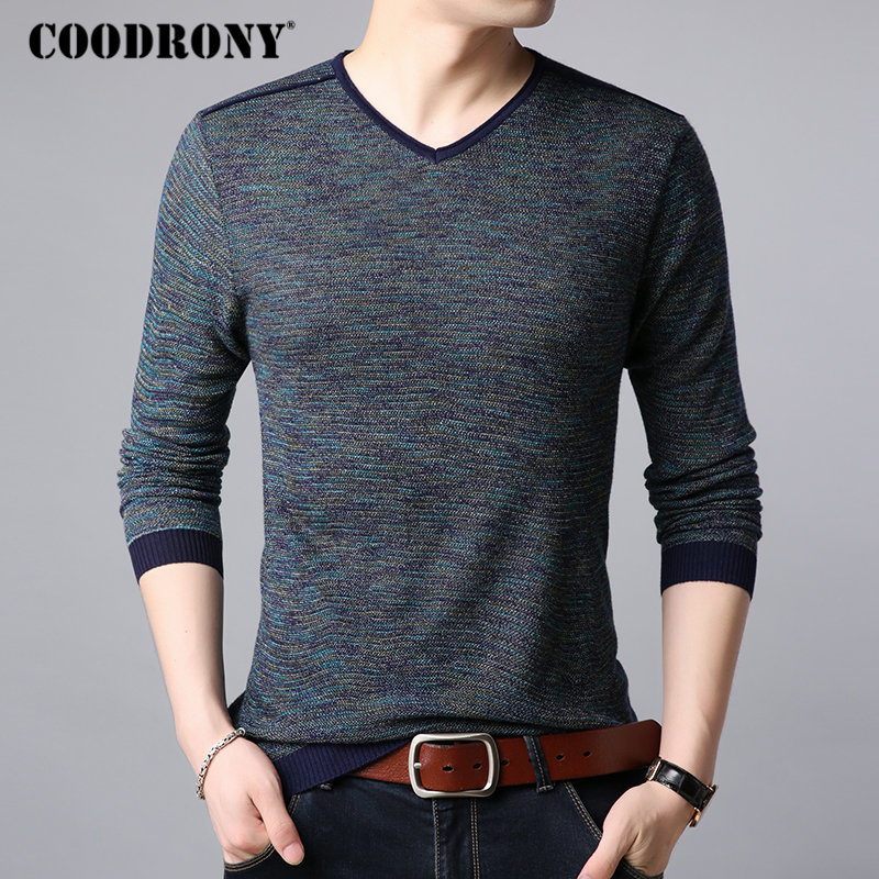 COODRONY Wool Sweater Pull V-Neck Knitted Homme Autumn Men Casual Winter Cotton B008