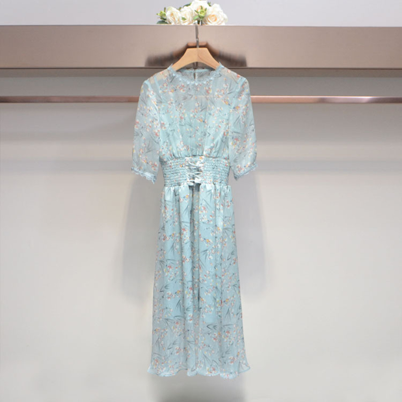 In the summer of 2018 the new women's in the round collar sleeve printed waist belt dress long skirt vintage round collar long sleeve embroidered organza dress for women page 7