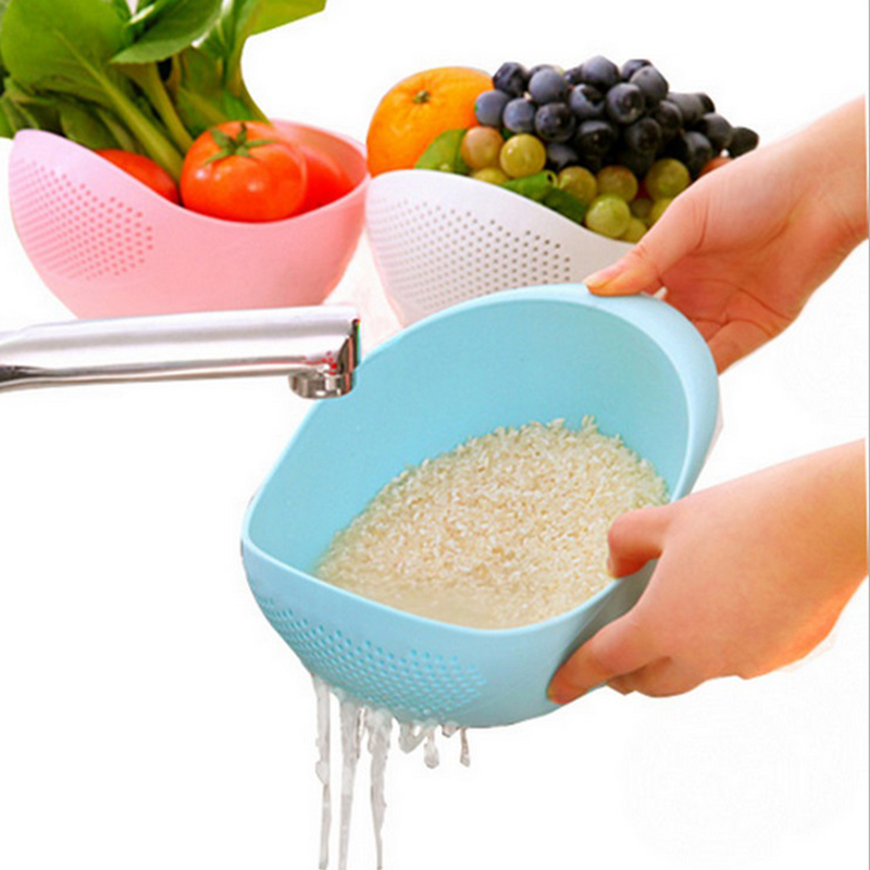 New 1pcs Multi Function Plastic Colanders Wheat Rice Vegetable Fruit Strainer Kitchen Gadget wash Creative