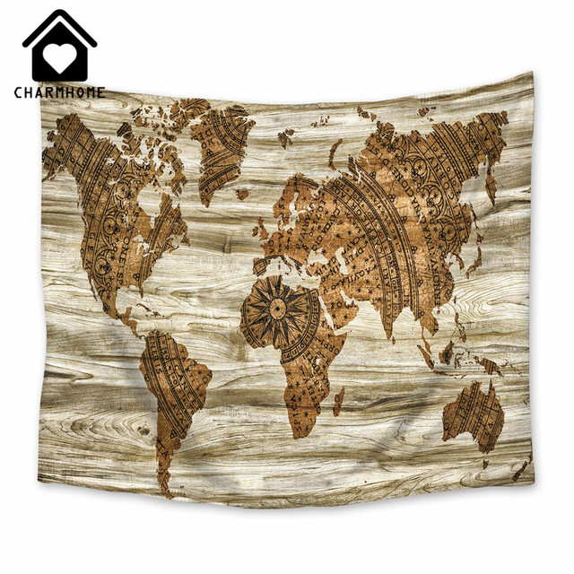 Charmhome polyester wall hanging world map tapestry vintage retro charmhome polyester wall hanging world map tapestry vintage retro throw blanket bedspread home dorm living room gumiabroncs Gallery