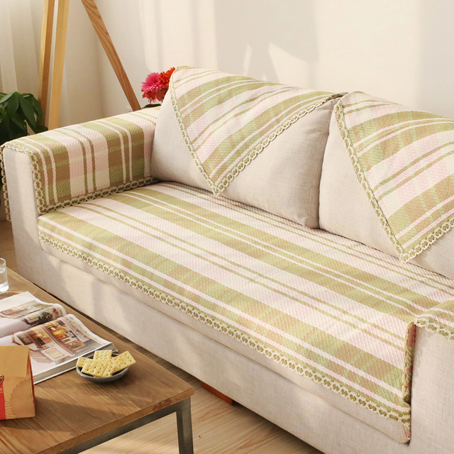 90cm Cotton Sofa Towel Green Plaid Sectinal Sofa Cover Anti slip ...