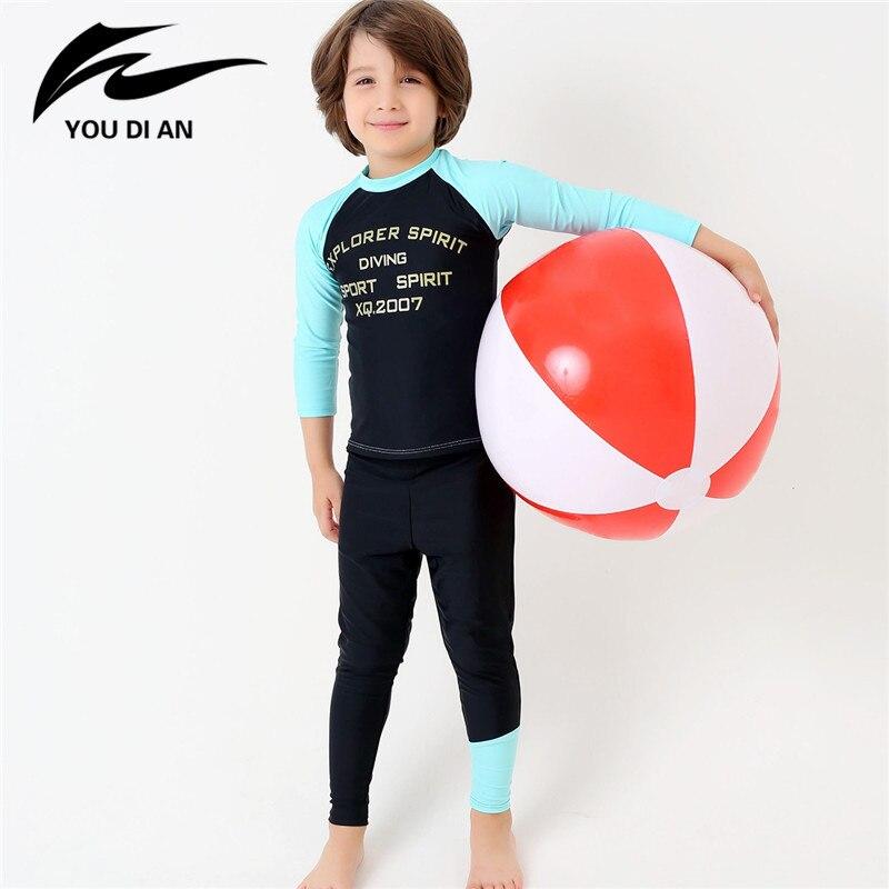e47711dbcd New Arrival Children Swimsuit Letter Printed Long Sleeve Swimwear Boy Rash  Guards Sportswear Surfing Swimming Wear