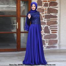 Blue Abaya Dubai Kaftan Muslim Arabic Evening Dresses With Hijab Long Sleeves Lace Chiffon Plus Size Formal Evening Gowns 2017
