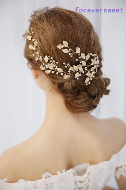 Gold Leaf Pearl Imitate Women Hair Decoration Headdress Bridal Tiara